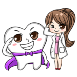 Happy lovely dentist and smart tooth