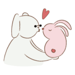 Cotton dog and bunny friend