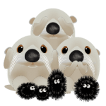 Baby white Otter and sea urchins team